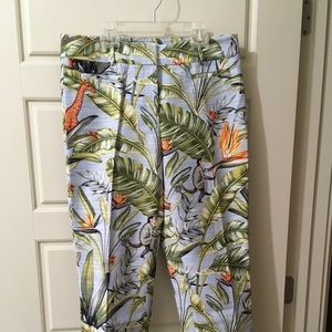 Ann Taylor Pants - Ann Taylor Kate Fit Cropped Blue Tropical Size 6